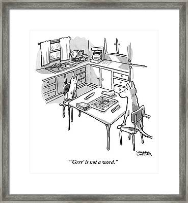 A Cat And Dog Play Scrabble In A Kitchen. 'grrr' Framed Print