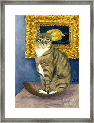 Framed Print featuring the painting A Cat And Eduard Manet's The Lemon by Jingfen Hwu