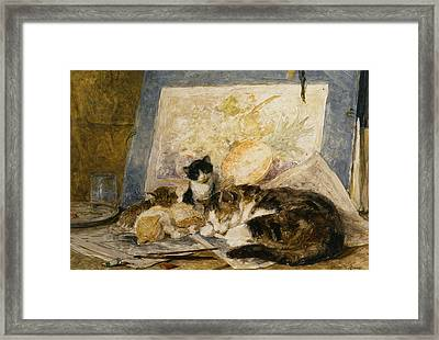 A Cat And Her Kittens Framed Print by Henriette Ronner Knip