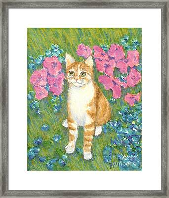 Framed Print featuring the painting A Cat And Meadow Flowers by Jingfen Hwu