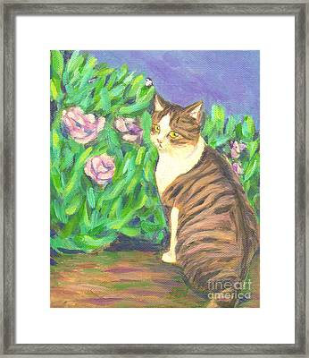 Framed Print featuring the painting A Cat At A Garden by Jingfen Hwu