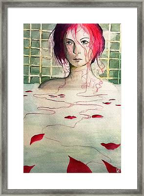 A Cat In The Bath Framed Print