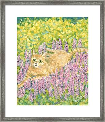 Framed Print featuring the painting A Cat Lying On Floral Mat by Jingfen Hwu