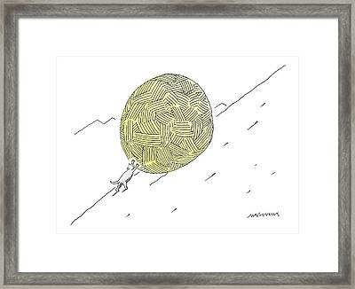 A Cat Pushes A Ball Of Yarn/string Up A Hill Like Framed Print