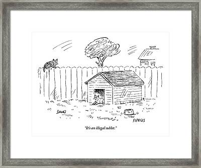 A Cat Sits In A Doghouse Framed Print by David Sipress