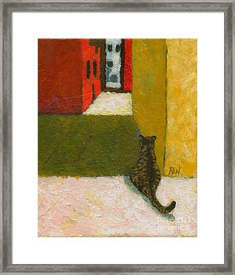 Framed Print featuring the painting A Cat Waiting For Someone's Return by Jingfen Hwu