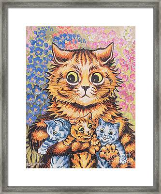 A Cat With Her Kittens Framed Print
