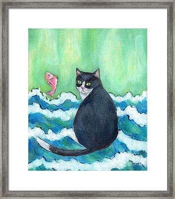 Framed Print featuring the painting A Cat's Dream Interior Design by Jingfen Hwu