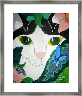 Framed Print featuring the painting A Cat's Fancy by Wendy Coulson
