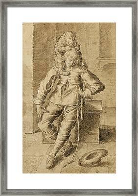 A Cavalier With A Monkey Framed Print