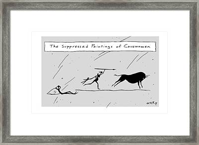 A Cave Drawing Is Seen Depicting A Woman Framed Print