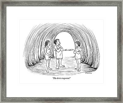 A Cave Father And Mother Talk To Their Daughter Framed Print