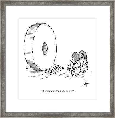 A Caveman Looking Onto The Circular Wheel Another Framed Print by Andrew Hamm