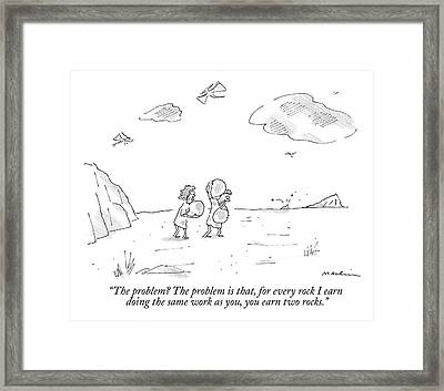 A Cavewoman Carrying A Rock Speaks To A Caveman Framed Print