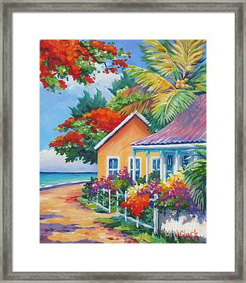 A Cayman Street In Summer Framed Print