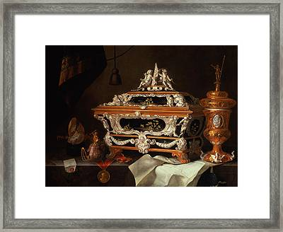 A Celebration Of The Goldsmiths Art Oil Framed Print by Pieter Gerritsz. van Roestraten