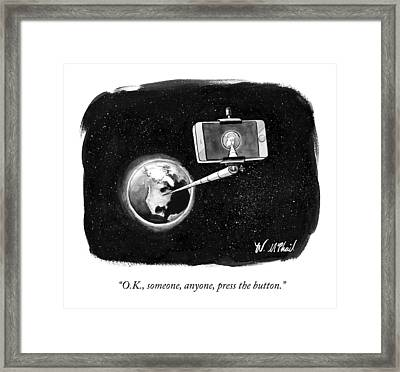 A Cell Phone Camera Is Held In Outer Space Framed Print