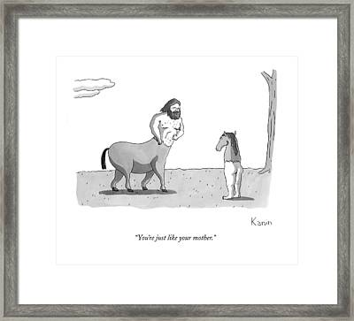 A Centaur Angrily Talks To A Creature Who Framed Print