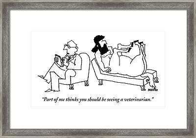 A Centaur Reclines On A Couch. His Psychiatrist Framed Print by Ariel Molvig