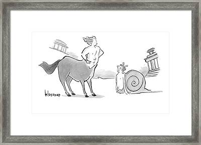 A Centaur With His Hands On His Hips Faces Framed Print