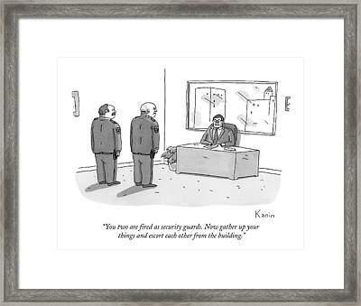 A Ceo Addresses Two Security Guards Framed Print by Zachary Kanin