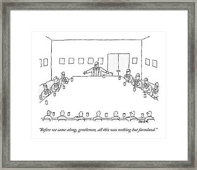 A Ceo Stands And Talks To Employees In A Business Framed Print