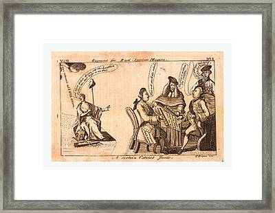 A Certain Cabinet Junto, En Sanguine Engraving 1775, King Framed Print by Litz Collection