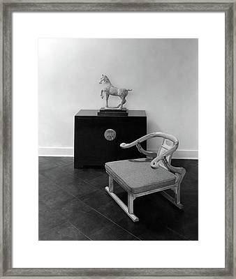 A Chair, Bedside Cabinet And Sculpture Of A Horse Framed Print