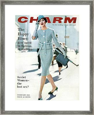 A Charm Cover Of A Model In A Checked Suit Framed Print by William Helburn