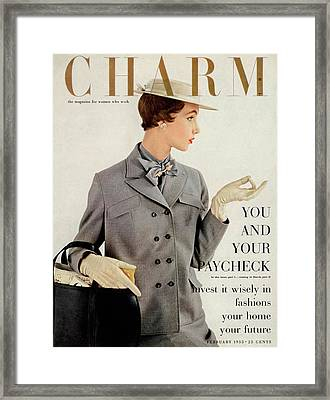 A Charm Cover Of A Model Wearing A Box Jacket Framed Print by Maria Martel