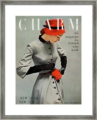 A Charm Cover Of A Model Wearing A Coatdress Framed Print by Carmen Schiavone