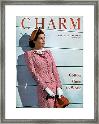A Charm Cover Of A Model Wearing A Huxley Suit Framed Print by  Farkas