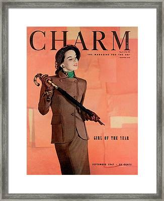 A Charm Cover Of A Model Wearing A Joselli Suit Framed Print by Hal Reiff