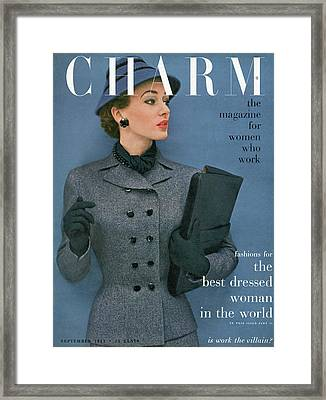 A Charm Cover Of A Model Wearing A Tweed Suit Framed Print by Carmen Schiavone