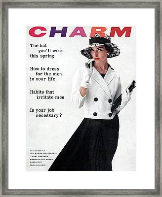 A Charm Cover Of A Model Wearing A White Jacket Framed Print by William Helburn