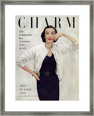 A Charm Cover Of A Model Wearing Ciro Sportswear Framed Print by Francesco Scavullo