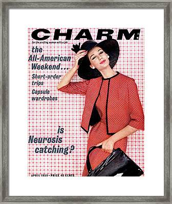 A Charm Cover Of A Model Wearing Designer Framed Print