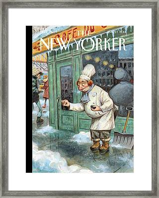 A Chef Lightly Pinches Salt On The Sidewalk Framed Print by Peter de Seve