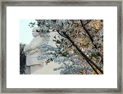 Framed Print featuring the photograph A Cherry Blossomed Martin Luther King by Cora Wandel