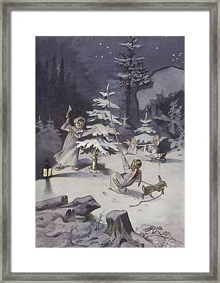 A Cherub Wields An Axe As They Chop Down A Christmas Tree Framed Print
