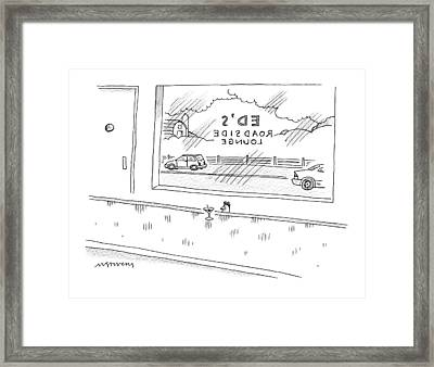 A Chicken Sits At A Bar Called Ed's Roadside Framed Print by Mick Stevens