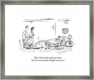 A Child Going To Bed Speaks To His Parents Framed Print