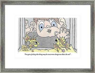 A Child Presses His Face And Hands Framed Print