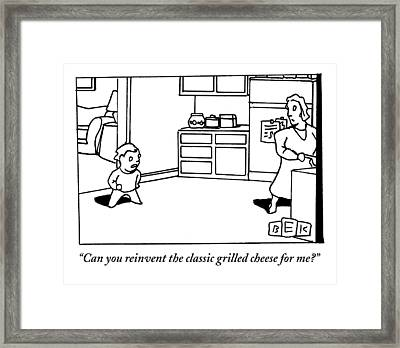 A Child Questions His Mother In The Kitchen Framed Print