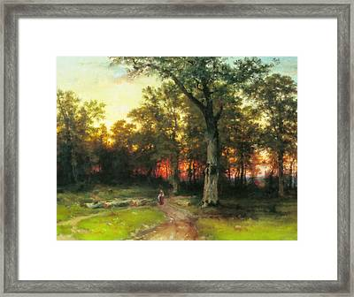 A Child Walks In A Forest Framed Print by Georgiana Romanovna