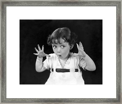 A Child's Scary Look Framed Print by Underwood Archives