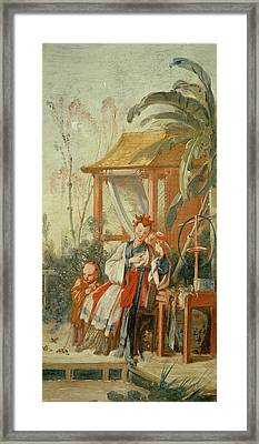 A Chinese Garden, Study For A Tapestry Cartoon, C.1742 Oil On Canvas Framed Print by Francois Boucher