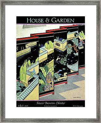 A Chinese Screen Framed Print by H. George Brandt