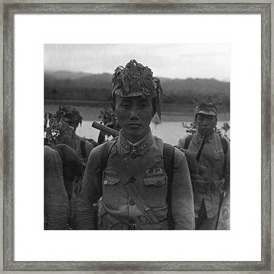 A Chinese Soldier At A Demonstration At Pihu Framed Print by Cecil Beaton