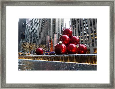 A Christmas Card From New York City - Radio City Music Hall And The Giant Red Balls Framed Print by Georgia Mizuleva